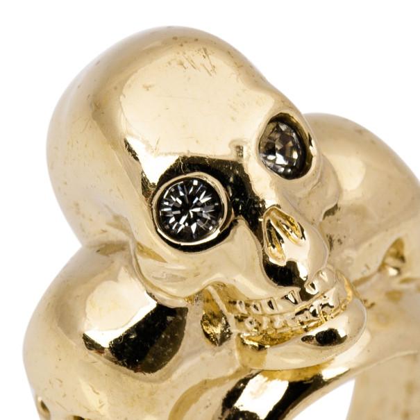 Alexander McQueen 3-Skull Gold-Tone Ring Size 54