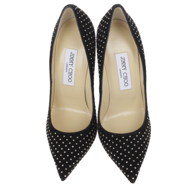 Jimmy Choo Black Suede Anouk Studded Pumps Size 37