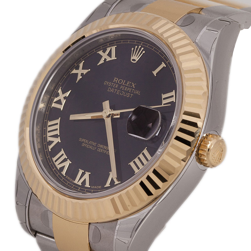 Rolex Black Stainless Steel and 18K Yellow Gold Datejust II Men's Wristwatch 41MM