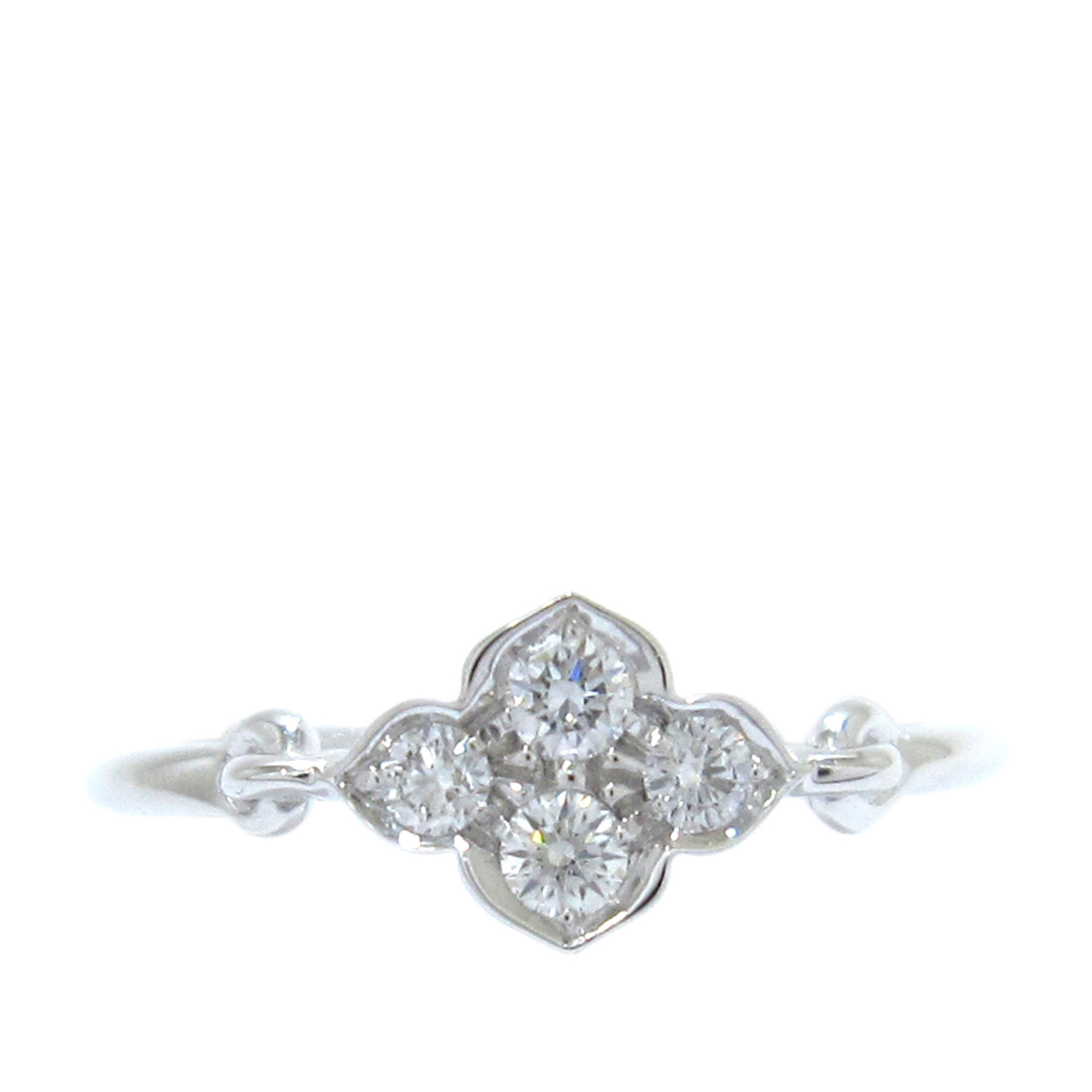Cartier Floral Diamond White Gold Ring Size 52