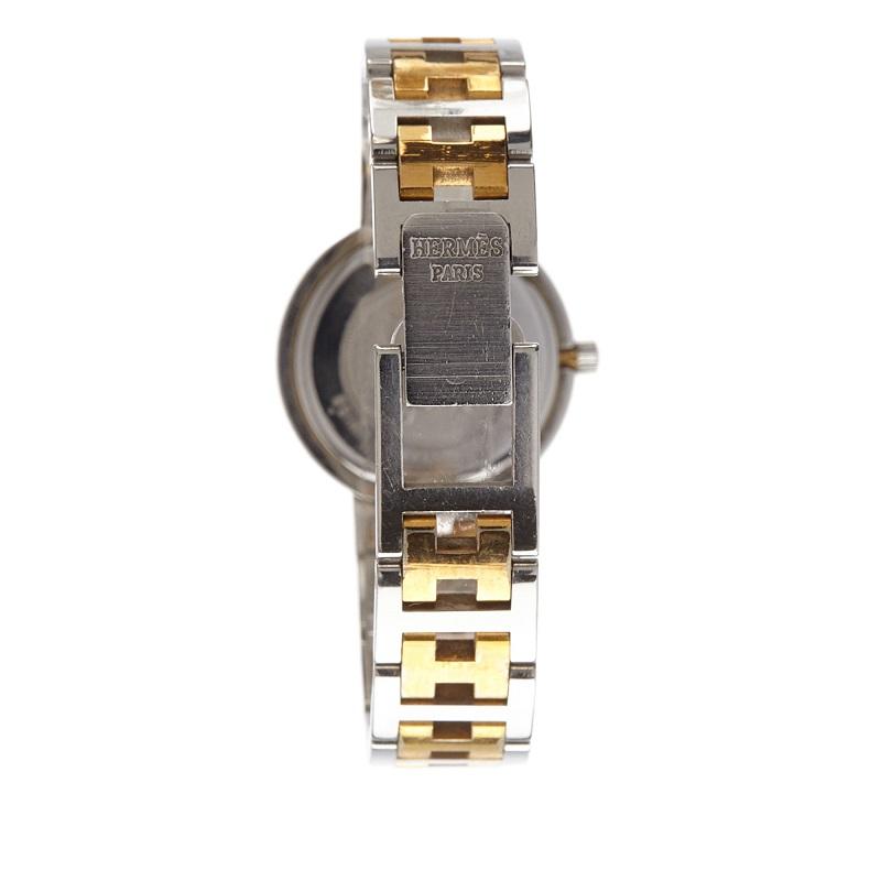 Hermes White Stainless Steel Clipper Women's Wristwatch 24MM
