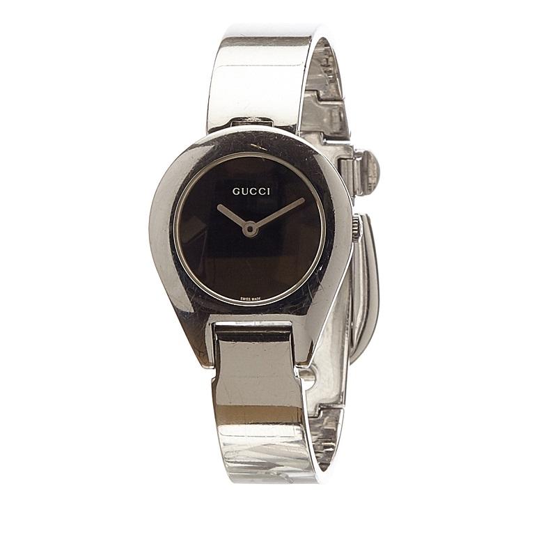 Gucci Black Stainless Steel 6700L Women's Wristwatch 25MM