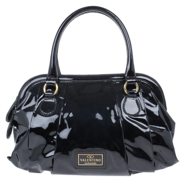 Valentino Black Patent Leather Satchel