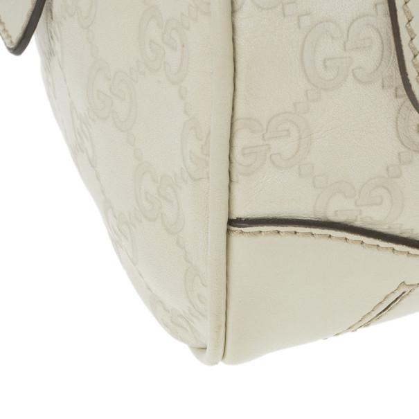 Gucci Off White Guccissima Bamboo Front Pocket Boston Bag