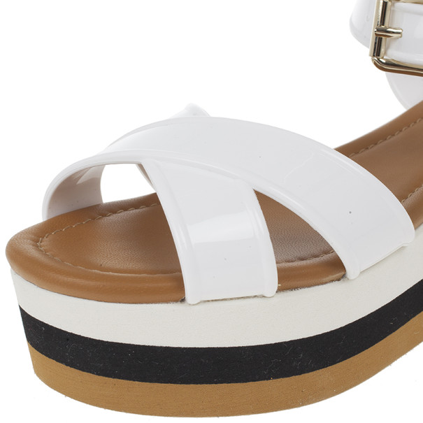 Fendi White Rubber Crisscross Strapped Striped Platform Sandals Size 38.5