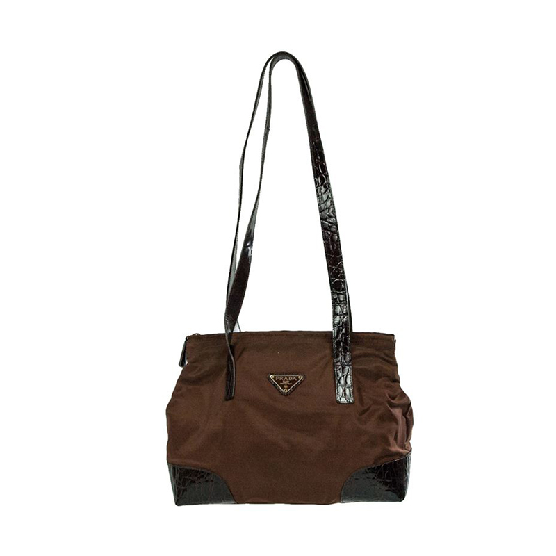 Prada Brown Nylon and Leather trim Tote
