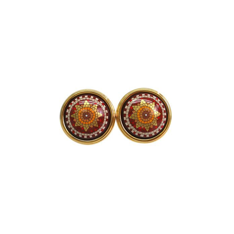 Hermes Cloisonne Red Orange Gold Tone Clip On Earrings
