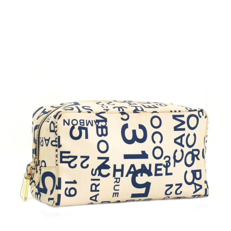 Chanel White Canvas Graffiti Large Vanity Cosmetic Case