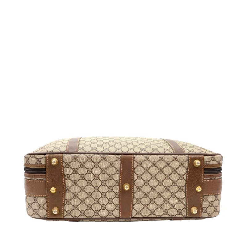 Gucci Dark Brown Monogram Canvas Travel Suitcase