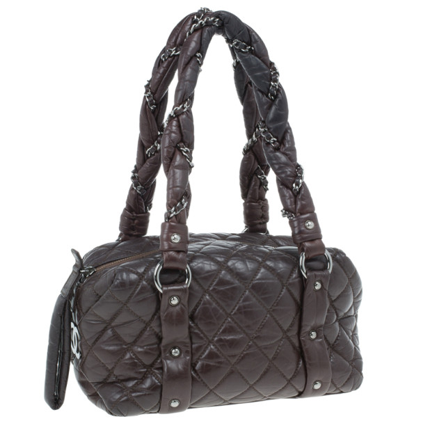 Chanel Brown Lambskin Bubble Quilt Bowler Satchel