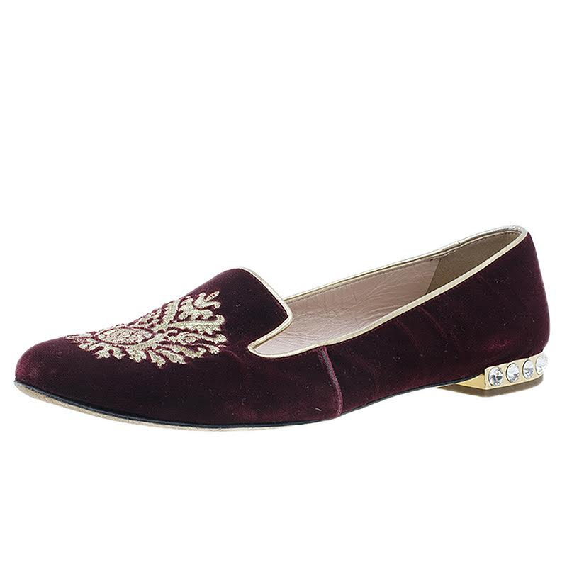 Miu Miu Burgundy Velvet Crest Embellished Smoking Slippers Size 38
