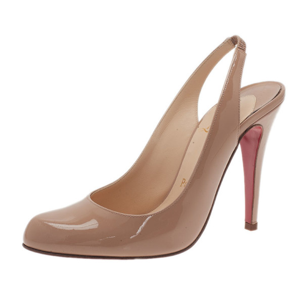 Christian Louboutin Beige Patent O My Slingback Sandals Size 36