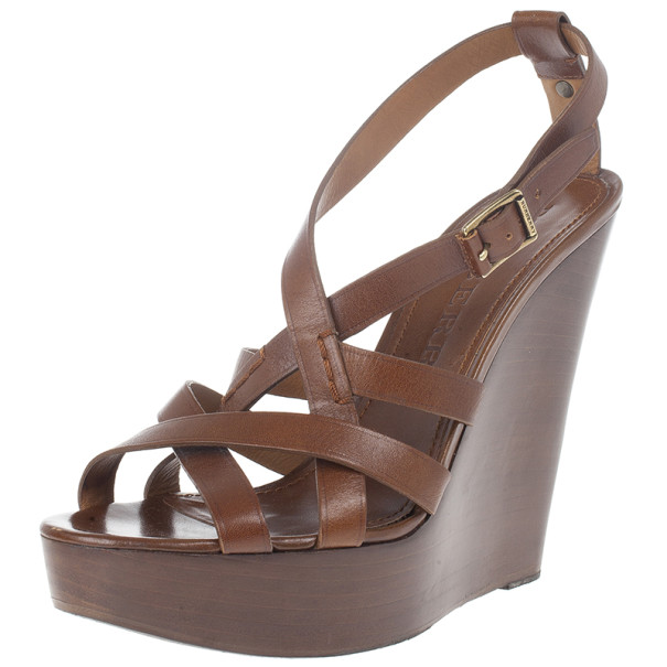 Burberry Brown Delamer Leather Platform Wedge Sandals Size 41