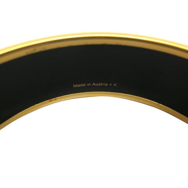Hermes Wide Printed Enamel Gold-Plated Bracelet 20CM