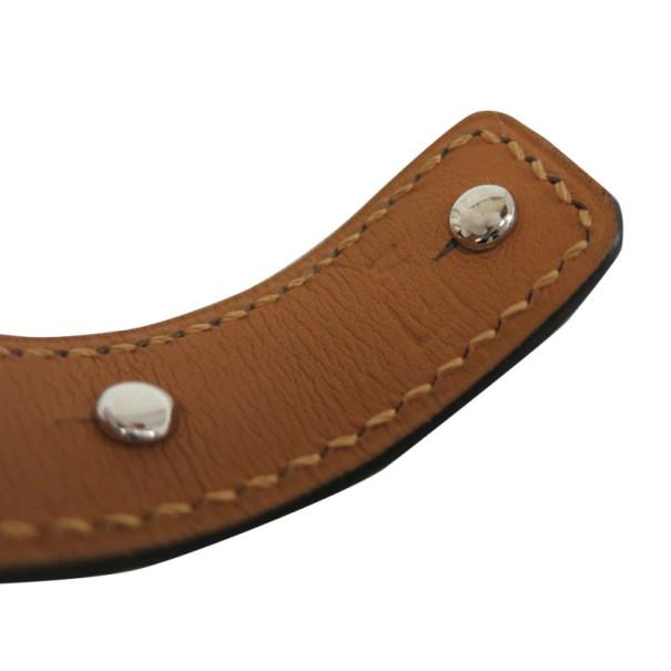Hermes Leather Metal Bangle S