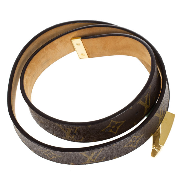 Louis Vuitton Brown Monogram Canvas Gold Buckle Belt Size 90 CM