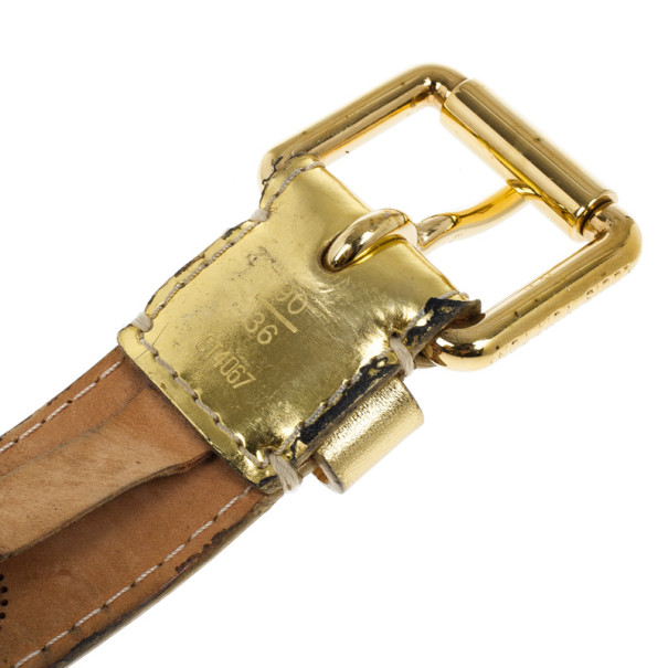 Louis Vuitton Gold Leather Mahina Perforated Belt Size 90 CM