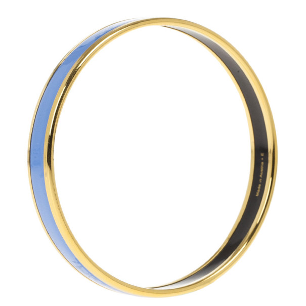 Hermes Printed Blue Enamel Gold-Plated Bracelet 19CM