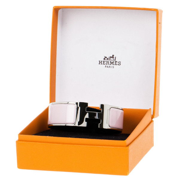 Hermes Clic Clac H Wide Pink Enameled Palladium Plated Bracelet GM