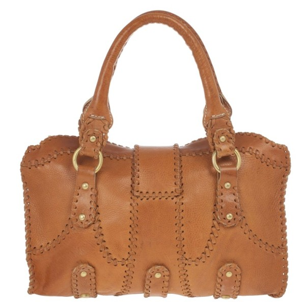 Valentino Brown Leather Catch Satchel