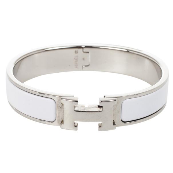 Hermes Clic Clac H White Enamel Palladium Plated Bracelet PM
