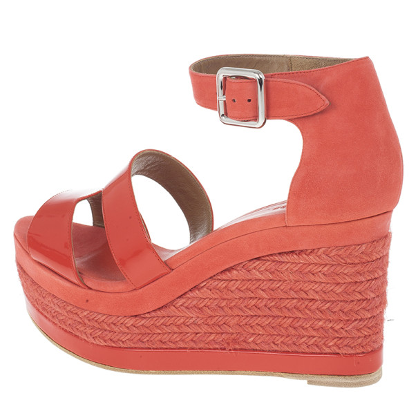 Hermes Peach Patent Leather and Suede Ilana Espadrille Wedge Sandals Size 38