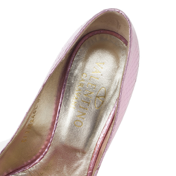 Valentino Pink Python Embossed Bow Pumps Size 37.5