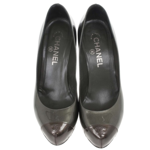Chanel Metallic CC Cap Toe Pumps Size 38