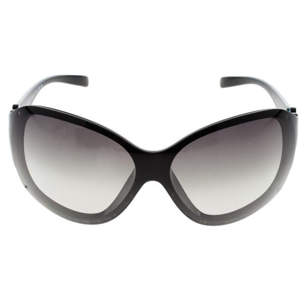 Chanel Vintage Black Camelia Shield Sunglasses