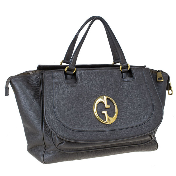Gucci Brown Leather 1973 Top Handle Bag