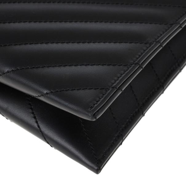 Saint Laurent Black Leather Classic Monogram Envelope Chain Bag