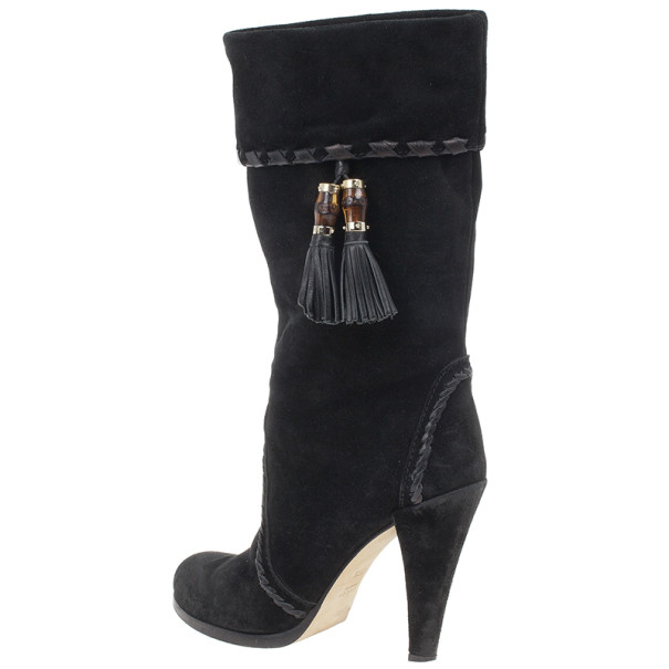Gucci Black Suede Bamboo Tassel Knee Boots Size 37.5