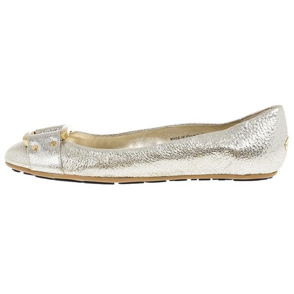 Jimmy Choo Metallic Morse Ballet Flats Size 38