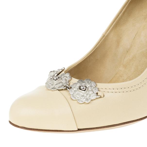 Chanel Beige Leather Flower Embellished Wedge Pumps Size 39.5