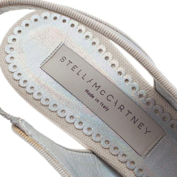 Stella McCartney Metallic Holographic Slingback Wedges Size 36