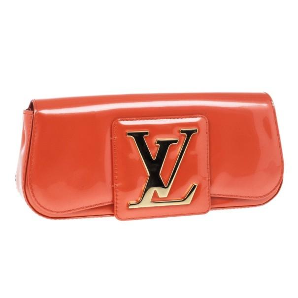 Louis Vuitton Orange Patent Leather Sobe Clutch