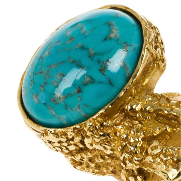 Saint Laurent Arty Turquoise Ring Size 52