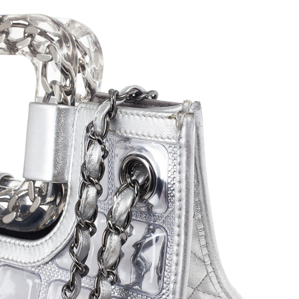 Chanel Silver Leather and Vinyl Ice Cube Tote