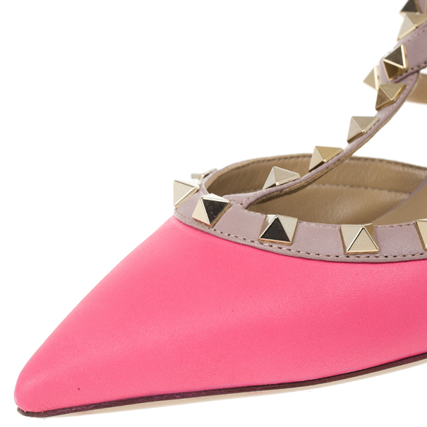 Valentino Pink Leather Rockstud Sandals Size 37