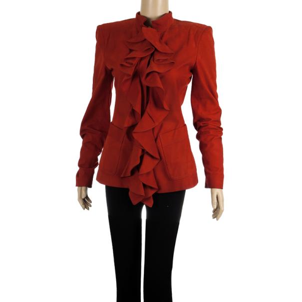Saint Laurent Paris Silk Suede Ruffle Jacket M