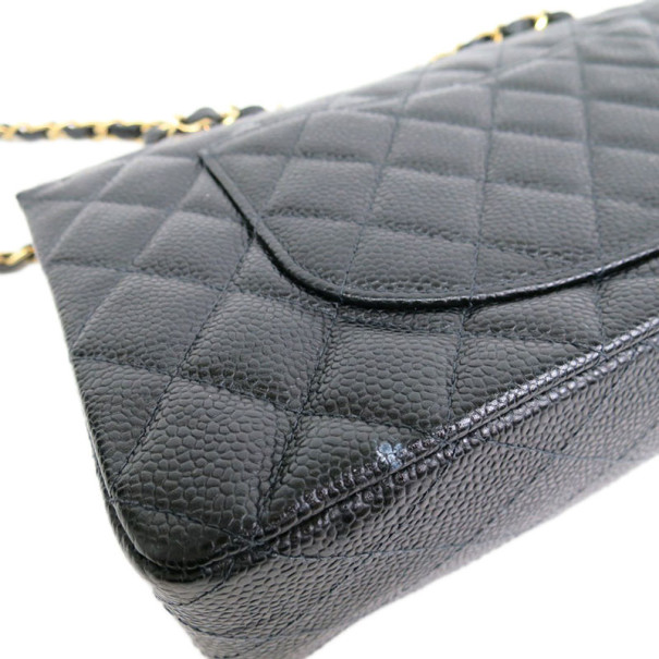 Chanel Black Caviar Single Flap Shoulder Bag