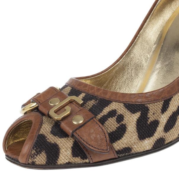 Dolce and Gabbana Leopard Print Peep Toe Pumps Size 37