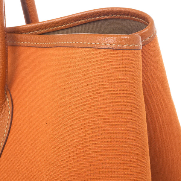 Hermes Orange Canvas and Leather Garden Party Tote