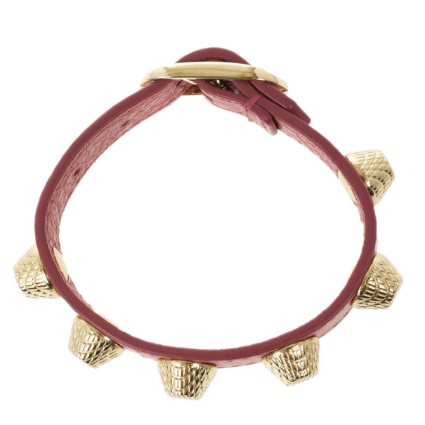 Balenciaga Arena Giant All Gold Tone Stud Pink Leather Bracelet S