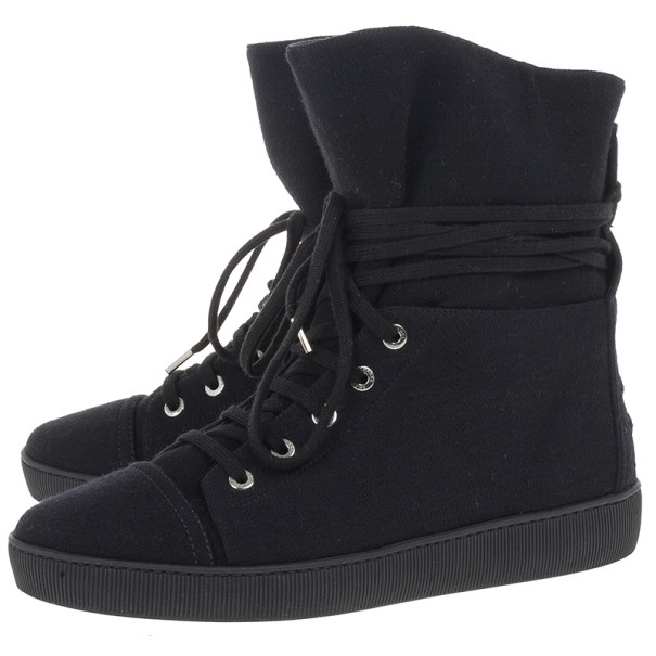Chanel Black High Top Wedge Sneakers Size 39
