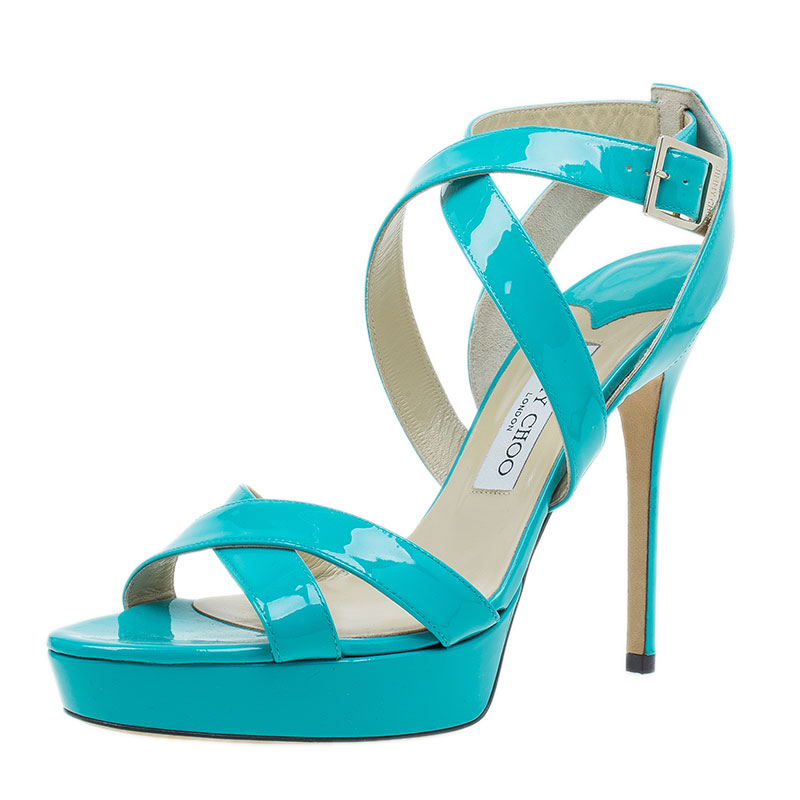 Jimmy Choo Turquoise Patent Leather Vamp Sandals Size 40.5