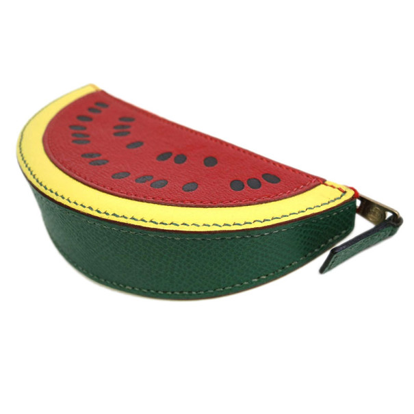 Hermes Red Leather Watermelon Coin Purse