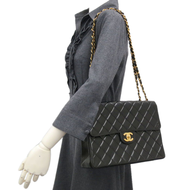 Chanel Black Lamb Skin Chain Small Shoulder Flap Bag