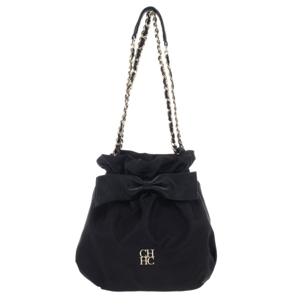 Carolina Herrera Bow Drawstring Chain Hobo Small