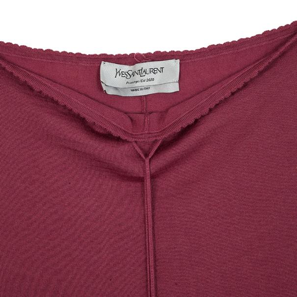 Saint Laurent Paris Pink Cashmere and Silk Mini Dress S